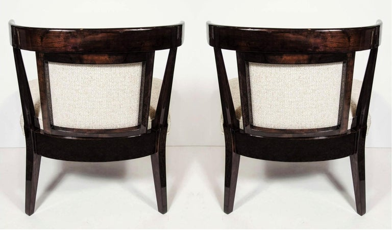 Upholstery Pair of Mid-Century Modernist Klismos Slipper Chairs For Sale