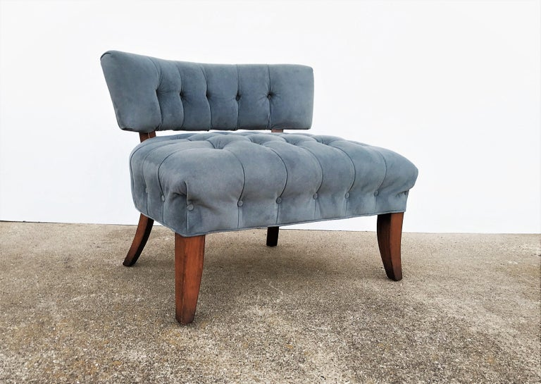 Glamorous pair of comfortable larger scale tufted lounge chairs in the manner of William
