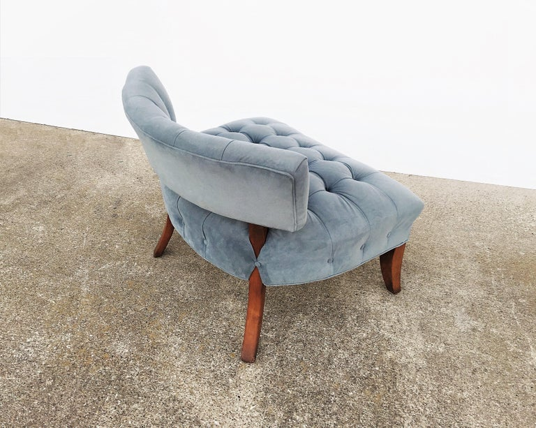Upholstery Pair of Mid-Century Modernist Slipper Chairs in the Manner of Billy Haines For Sale