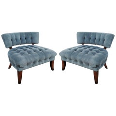 Pair of Mid-Century Modernist Slipper Chairs in the Manner of Billy Haines