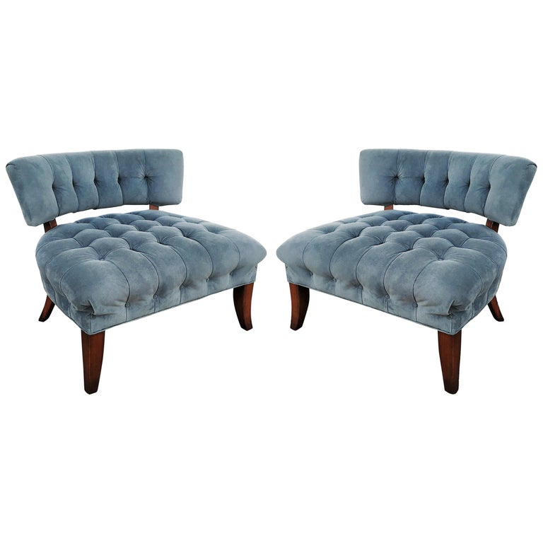 Pair of Mid-Century Modernist Slipper Chairs in the Manner of Billy Haines For Sale