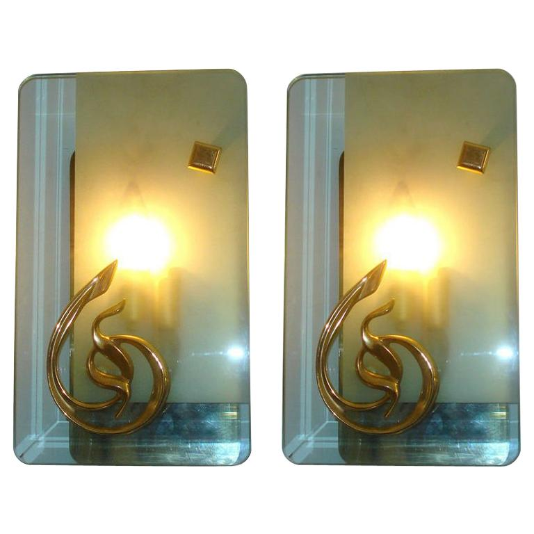 Pair of Mid-Century Murano Glass and Bronze Sconces For Sale