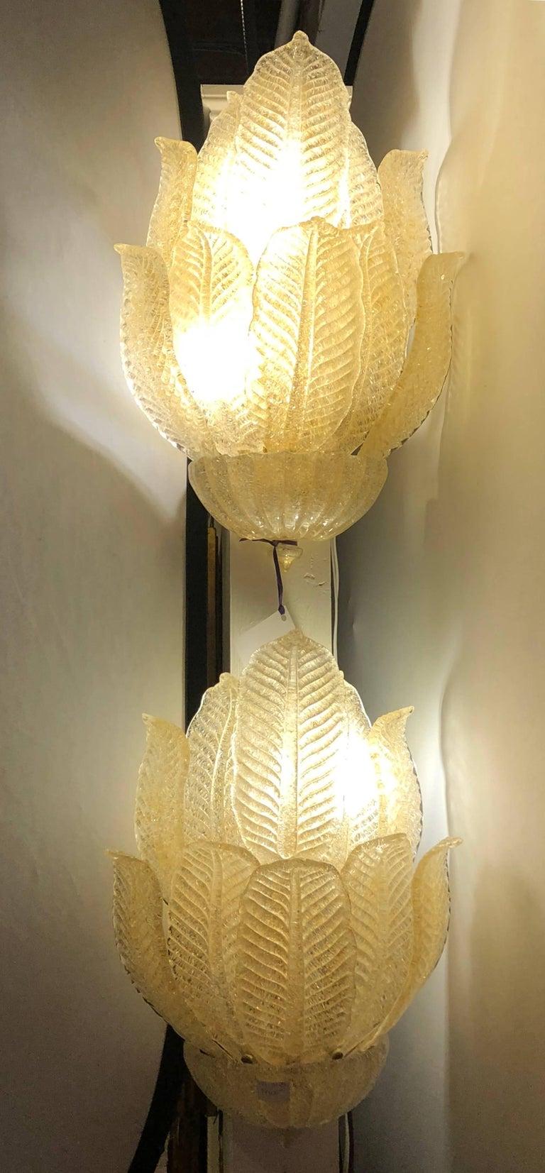 Pair of Mid Century Murano Glass Four Light Leaf Design Four Light ...