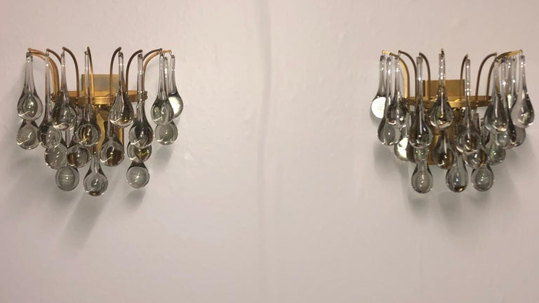 Pair of Midcentury Murano Glass Wall Sconces by E.Palme, circa 1960s For Sale 5