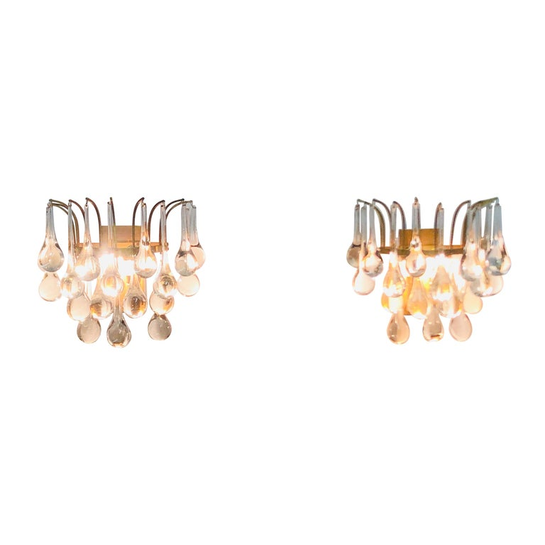 Pair of Midcentury Murano Glass Wall Sconces by E.Palme, circa 1960s For Sale