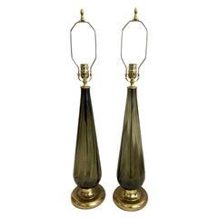 Pair of Midcentury Murano Smoke Glass Lamps