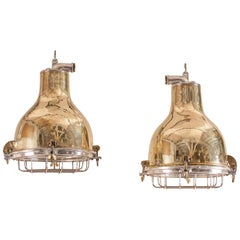 Pair of Mid-Century Nautical Brass Ship's Pendant Lights