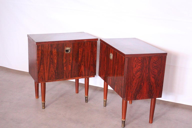 Pair of Midcentury Nightstands French, circa 1970 Side Cabinets Bedside Tables In Good Condition For Sale In , South West France