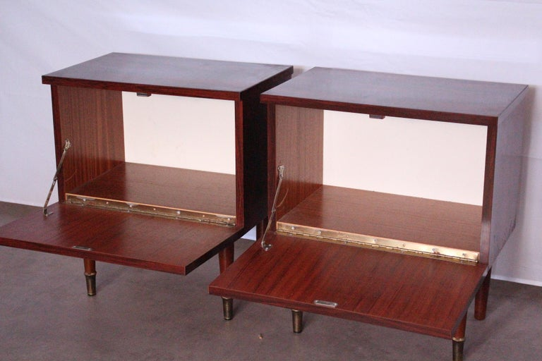Pair of Midcentury Nightstands French, circa 1970 Side Cabinets Bedside Tables For Sale 1