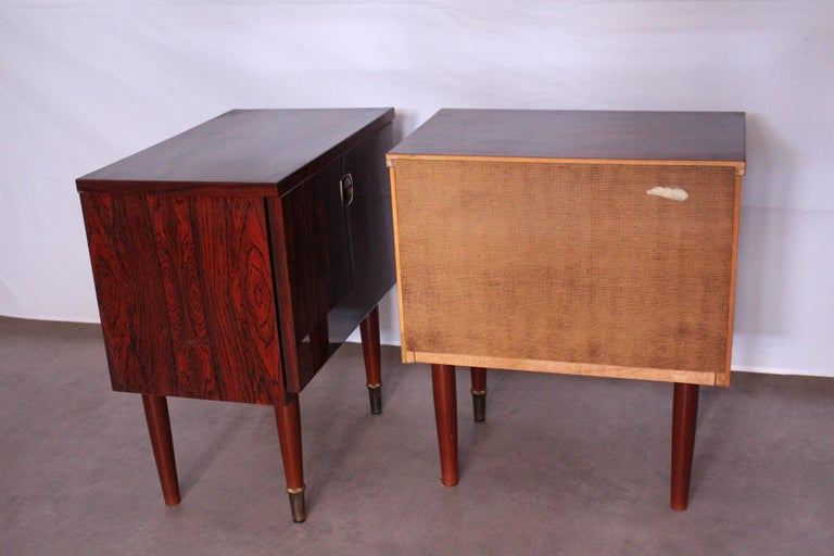 Pair of Midcentury Nightstands French, circa 1970 Side Cabinets Bedside Tables For Sale 2