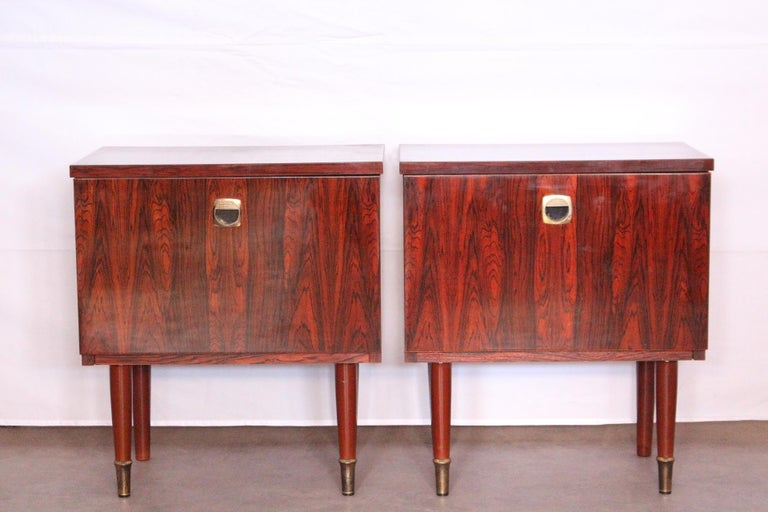 Pair of Midcentury Nightstands French, circa 1970 Side Cabinets Bedside Tables For Sale 3