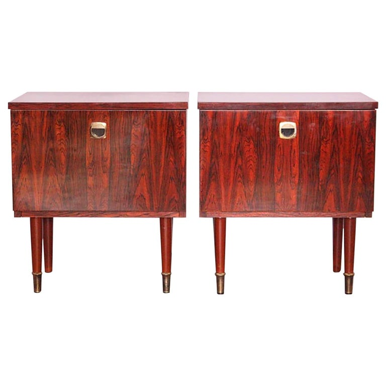 Pair of Midcentury Nightstands French, circa 1970 Side Cabinets Bedside Tables For Sale