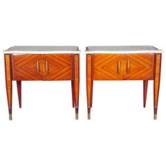 Pair of Mid Century Nightstands or Side Tables with White Marble Top Italy 1950