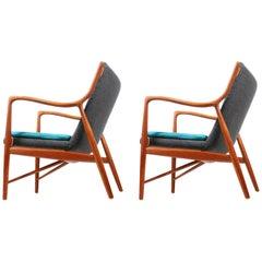 Pair of Midcentury NV45 Lounge chairs in Teak by Finn Juhl for Niels Vodder