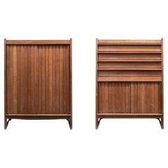 Pair of Mid Century Oak Cabinets by Guillerme et Chambron