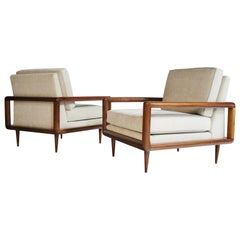 Pair of Midcentury Open Arm Cubed Walnut Lounge Chairs