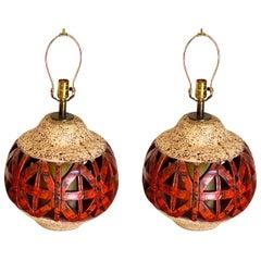 Pair of Mid Century Orange Ceramic Lamps