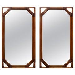 Pair of Mid-Century Organic Modern Rattan Mirrors