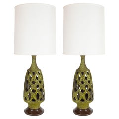 Pair of Mid Century Organic Modern Sculptural Latticework Table Lamps