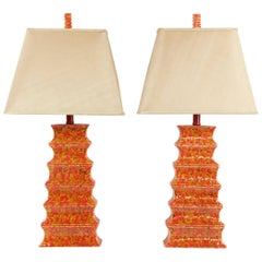 Pair of Midcentury Pagoda Style Lamps