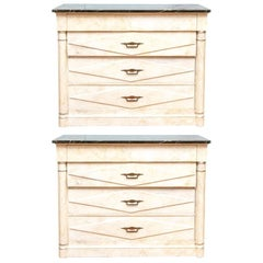 Pair of Midcentury Paint Decorated Marble-Top Chests