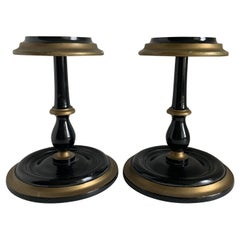 Pair of Mid-Century Painted Black Wooden Hat Stands