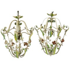 Pair of Midcentury Painted Iron Florals Hanging Lantern Light Fixtures, Italian