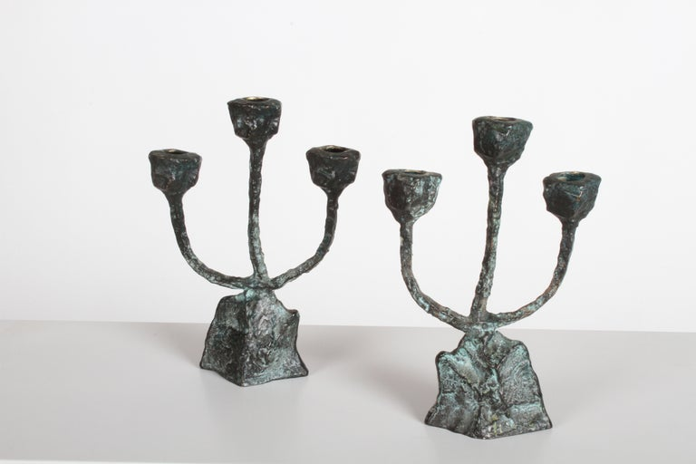 American Pair of Midcentury Patinated Bronze Brutalist Candleholders For Sale