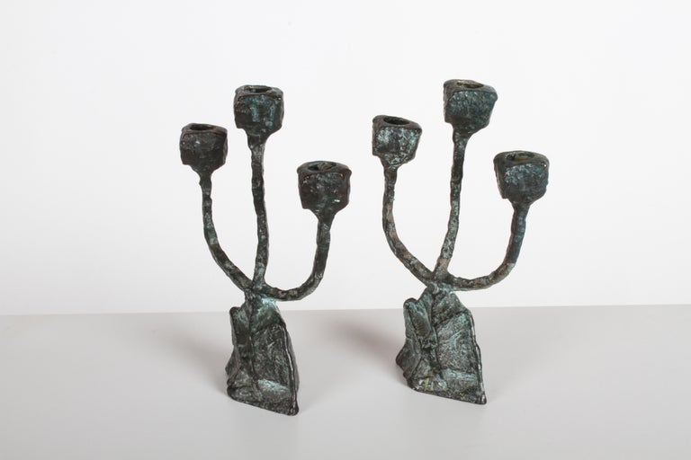 Pair of Midcentury Patinated Bronze Brutalist Candleholders In Good Condition For Sale In St. Louis, MO
