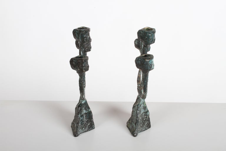 Pair of Midcentury Patinated Bronze Brutalist Candleholders For Sale 1