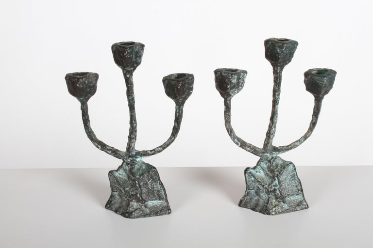 Pair of Midcentury Patinated Bronze Brutalist Candleholders For Sale 3
