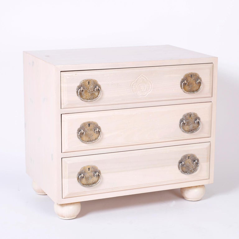 Chinoiserie Pair of Midcentury Pickled Pine Chests or Nightstands For Sale