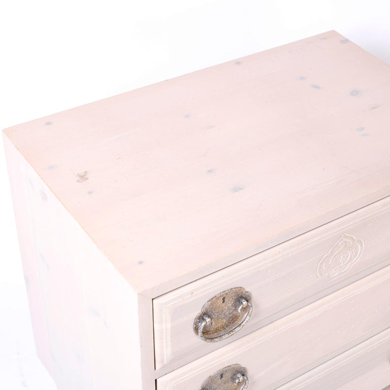 American Pair of Midcentury Pickled Pine Chests or Nightstands For Sale