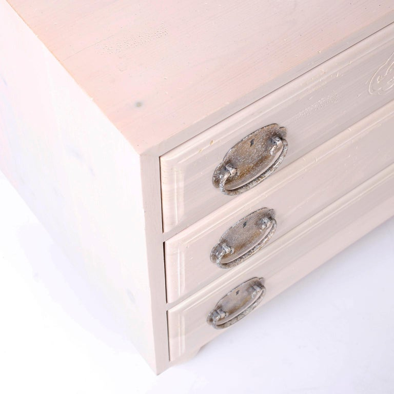 Cerused Pair of Midcentury Pickled Pine Chests or Nightstands For Sale