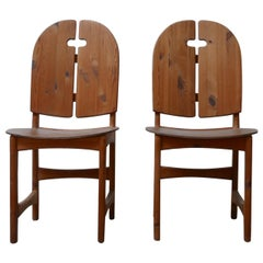 Pair of Midcentury Pine Swedish Hall Chairs