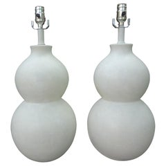 Pair of Mid-Century Plastered Gourd Lamps