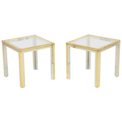 Pair of Mid-Century Polished Chrome Glass and Brass Tables