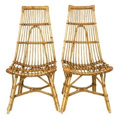 Pair of Midcentury Rattan and Bamboo High Back Chairs