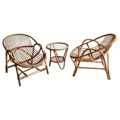 Pair of Mid Century Rattan / Cane Armchairs by Angraves, England, 1970s