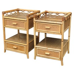 Pair of Mid Century Rattan / Cane Nightstands / Bedside Tables, English, 1970s