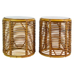 Pair of Midcentury Rattan Cylinder Acrylic Top Small End Tables or Stools