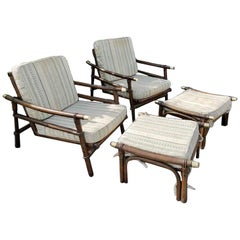 Pair of Midcentury Rattan Lounge Chairs and Two Ottomans by Ficks & Reed