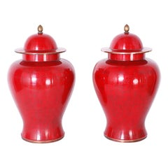 Pair of Mid Century Red Chinese Cloisonné Lidded Jars
