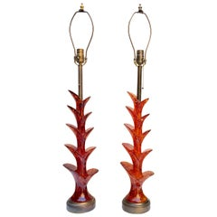 Pair of Midcentury Red Lucite Table Lamps