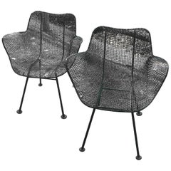 Pair of Mid Century Russell Woodard Sculptura Mesh Dining Chairs with Arm Rests