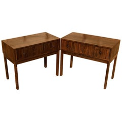 Pair of Midcentury Santos Rosewood Bedside Tables with Single Drawers