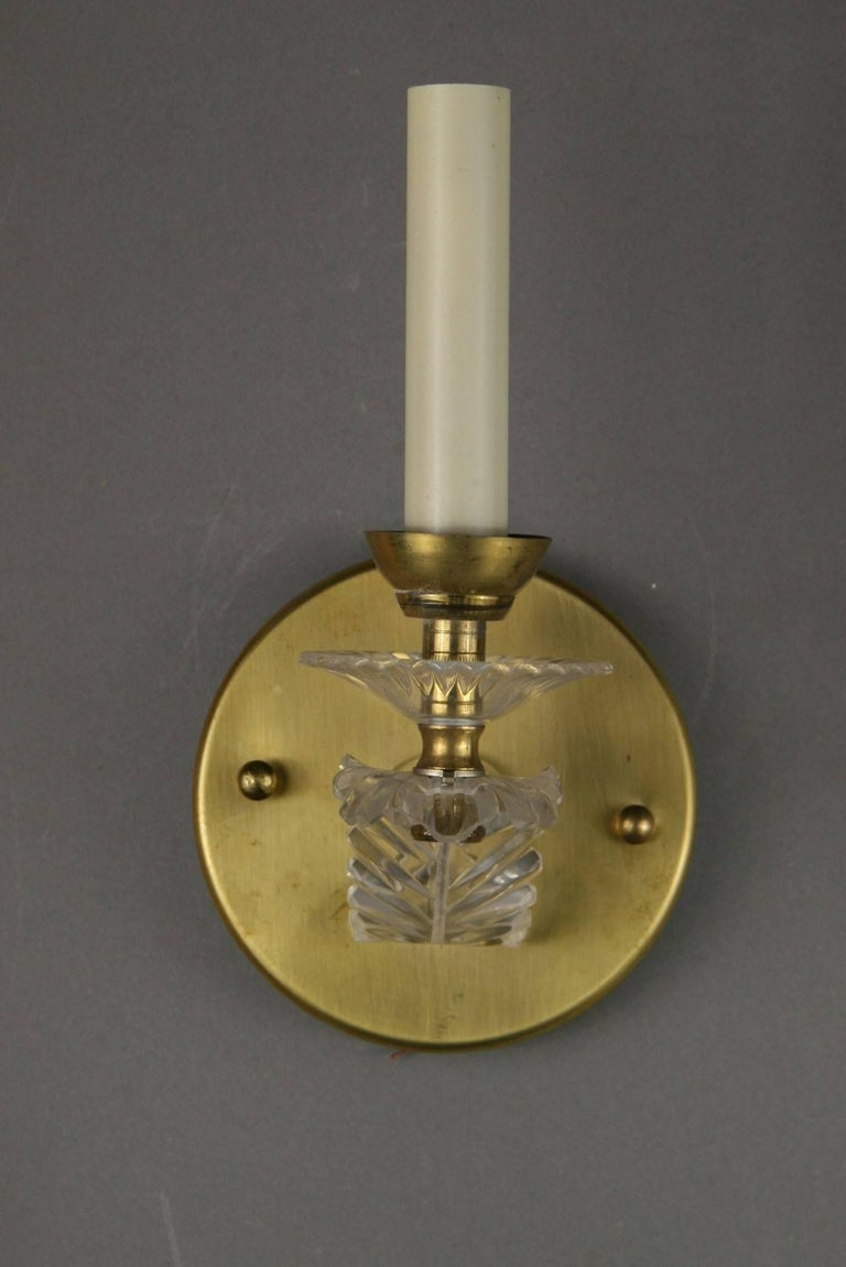 2-421ab pair of French brass and acrylic sconces Takes 60 watt candelabra base bulb Two pair available priced per pair.