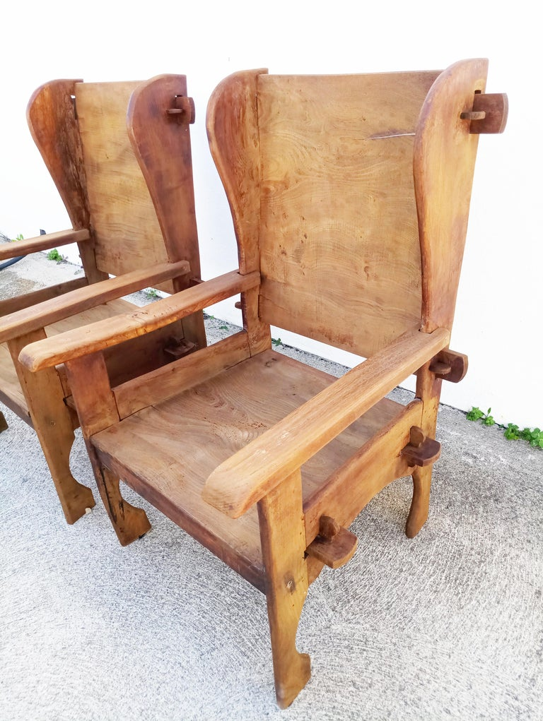 Pair of Midcentury Scottish Brutalist Wooden Armchairs For Sale 7