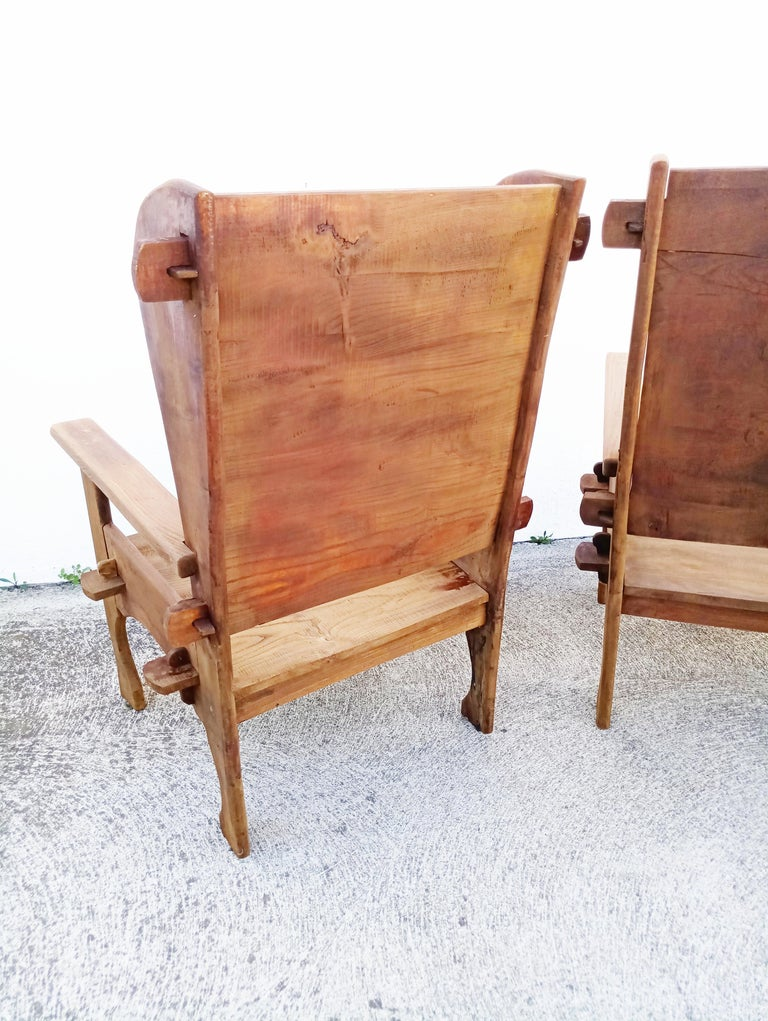 Pair of Midcentury Scottish Brutalist Wooden Armchairs For Sale 8