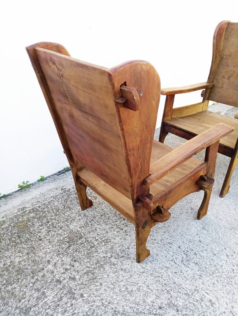 Pair of Midcentury Scottish Brutalist Wooden Armchairs In Good Condition For Sale In L'Escala, ES